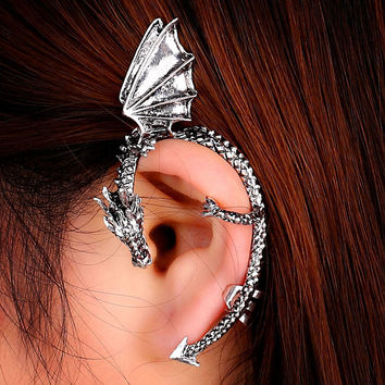 JU 23 Fairy Store 2016 Hot Selling New Fashion Gothic Punk Temptation Metal Dragon Bite Ear Cuff Wrap Earring drop shipping