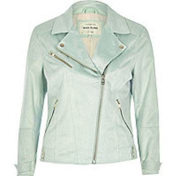 Mint green faux suede biker jacket