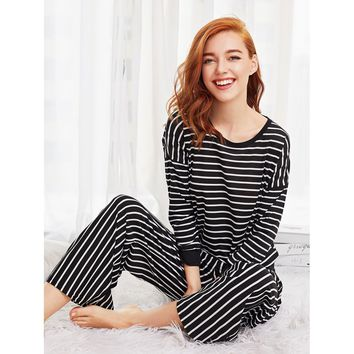 Striped Long Pajama Set