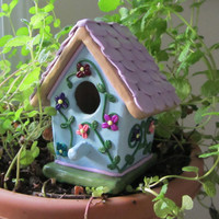 """Small Polymer and Wood Decorative Birdhouse """"Vine and Flowers"""""""