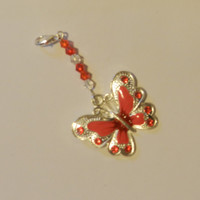 Red Enameled Butterfly Zipper pull Purse Pull    V4581