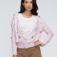 Pink V-neck Jewel Embellished Rib Knit Short Cardigan