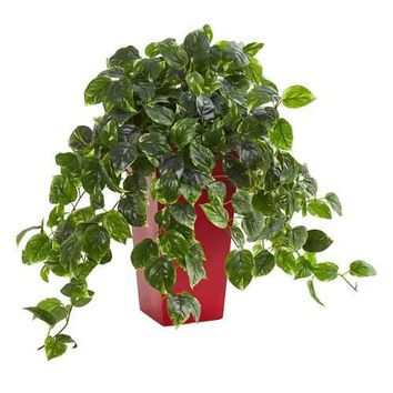 Pothos Artificial Plant in Red Planter UV Resistant (Indoor/Outdoor) Silk Plants