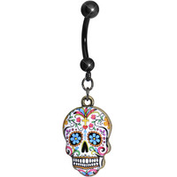 Faith and Flowers Sugar Skull Dangle Belly Ring