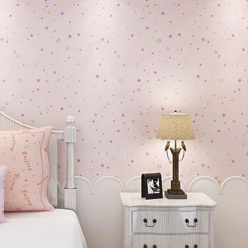 Stars Pattern Non-woven Wallpaper Cartoon Girls Boys Children Bedroom Wall Decor Tapety Papel De Parede Wall Paper For Kids Room