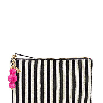 Kate Spade On Purpose Striped Beaded Clutch Black Stripe ONE
