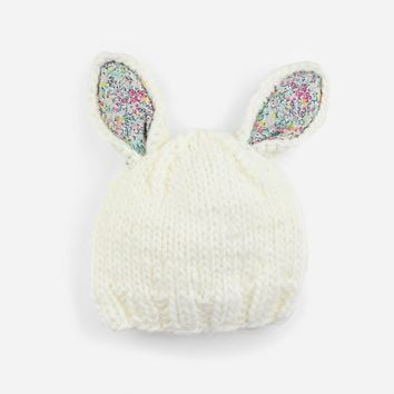 Bailey Bunny Knit Hat with Liberty Fabric