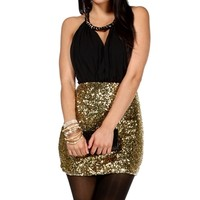 Black/Gold Keyhole Sequin Short Dress