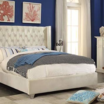 Meridian Furniture AidenCream-K Aiden Velvet Upholstered Button Tufted Wingback Bed with Chrome Nailhead Trim and Custom Chrome Legs, King, Cream