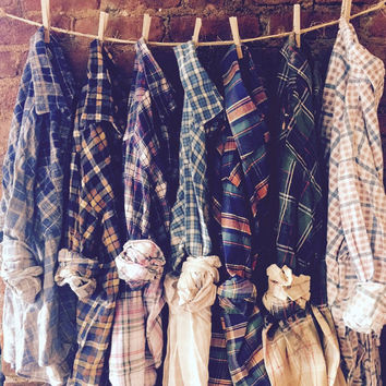 Wholesale Ombre Bleached Vintage Flannel, Sun Faded Distressed flannel, Soft Grunge flannel, Wholesale Bulk-Custom