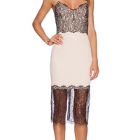 NICHOLAS Lace Trim Dress in Beige