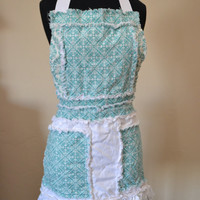 Girl RAG APRON for Children in Turquoise and White, Ready to Ship