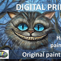 Cheshire Cat Alice in Wonderland Print Of Original Painting on canvas Digital Instant Download Art Poster Printable Colorful Wall Home Décor
