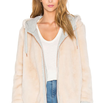 IKKS Paris Reversible Hooded Fur Jacket in Gris Chine