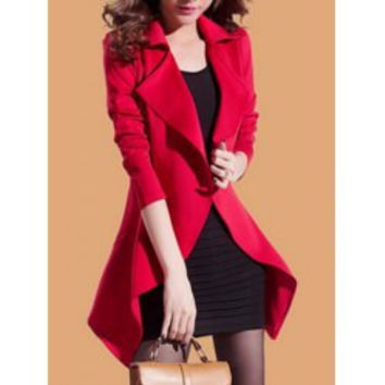 Fashionable Style Solid Color Irregular Long Sleeves Tailored Collar Slimming Women's Blazer (With Sundress)