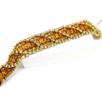 Kramer of New York Amber Yellow Rhinestone Bracelet Baguette Clasp Safety Chain Designer Signed Vintage Jewelry High End Fashion Art 1950