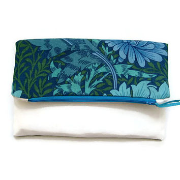 "Fold over clutch bag, purse, wedding clutch bag, evening purse, prom purse, turquoise William Morris ""Chrysanthemum"" and cream heavy cotton."