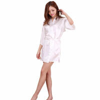 New White Chinese Women Sexy Silk Lingerie Mini Robe Dress Kimono Bath Gown Nightwear Mujer Pijama S M L XL XXL NR112