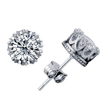 Lubingshine Rock Zinc Alloy Crystal Stud Earrings Men E125
