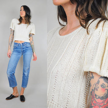 80's silk cropped knit sweater