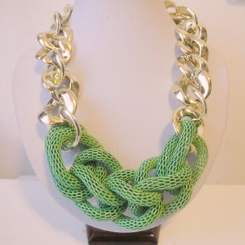 Chunky Chain Necklace, Green Statement Necklace, Green Gold Rope Necklace