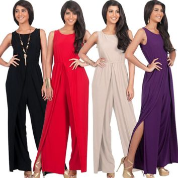 Large Size  solid round necklace nightclub Jumpsuit B0016449
