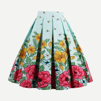 Floral Print Box Pleated Skirt