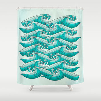 Ocean Retro Vibes Bathroom Shower Curtain – Great for Adult and Kids Bathroom or Beach House