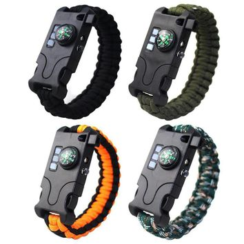 Outdoor Paracord Survival Bracelet w/ Compass Whistle Flashlight IR Laser  with Laser Flashlight Compass Climbing Accessories
