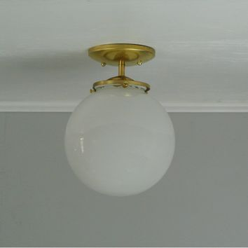 Large Glass Globe Flush Mount Light