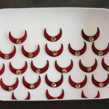 Half Moon Bindis Forehead Stickers,Chhand  Bindis Stickers,Half Moon Bindis,Moon Face Bindis,Bollywood Bindis,Self Adhesive Stickers