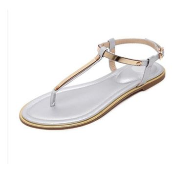 Womens Summer Flip Flops Faux Leather Sandals