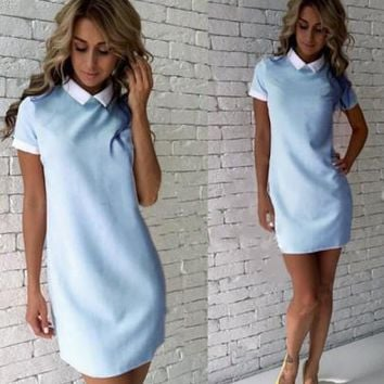 New Women Light Blue Zipper Turndown Collar Short Sleeve Mini Dress