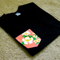Create No Evil LLC x Clothing CO. — salmon Floral Pocket tee