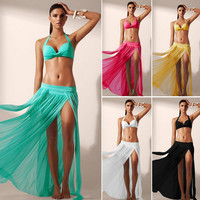 New Arrival Swimsuit Sexy Hot Summer Transparent Stretch Lace Dress Beach Skirt Swimwear Blouse Bikini [4914891972]
