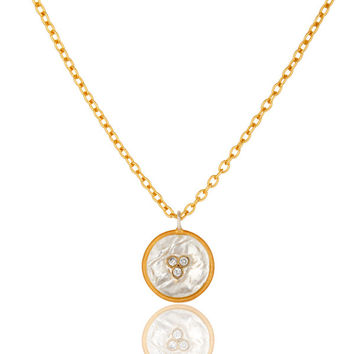 "18K Yellow Gold Plated Brass Cubic Zirconia Pendant With 16"" Inch Chain"
