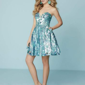 Tiffany Homecoming - 27159 Strapless Sweetheart Sequined Floral Dress