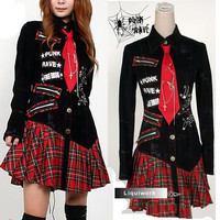Cool Black Red Plaid Emo Punk Rock Gothic Scene Clothing Shirt Dress SKU-11402059