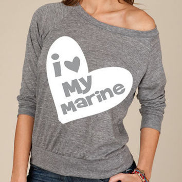 BIG HEART i Love My  Marine Soldier Firefighter Airman Sailor Coastie long sleeve At Ease Designs