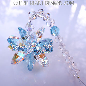 "m/w Swarovski Crystal SunCatcher Limited Aquamarine and Aurora Borealis ""Lily Octagons"" Logo Star Lilli Heart Designs"