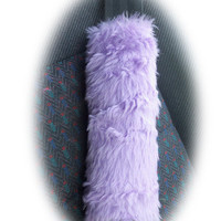 pretty Lilac faux fur furry fuzzy fluffy car seatbelt pads covers 1 pair