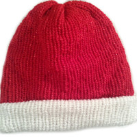 Unique Santa Hat,Santa claus hat,Reversible Christmas beanie,reversible santa hat,Red santa hat.