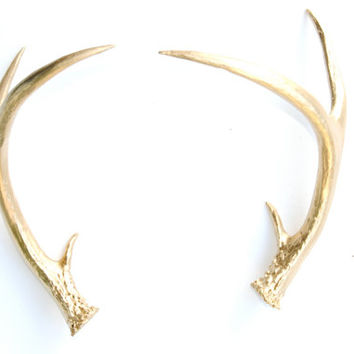 Faux Taxidermy Gold Antler Decor - Gold Resin Unique Deer Antlers - Wedding Table Top Fake Gold Antler Shed DA08