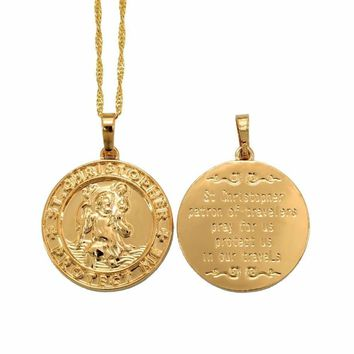 St. Christopher Protect Me Necklaces for Women,Light Gold/Silver Color Saint Christophe Pendant Religious Jewelry