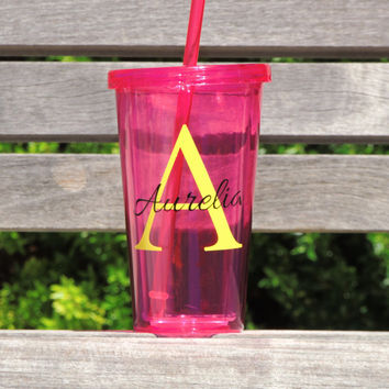 Dark Pink Water tumbler, Personalized water cup, party tumblers, gift tumbler, acrylic tumbler, wedding party favor