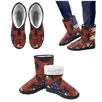 American Flag Skull Men's Snow Boots