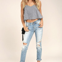 Mia Light Wash Distressed Skinny Jeans