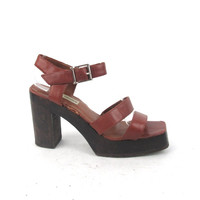 90s Steve Madden Platform Chunky Heels Brown Ankle Strap Vegan Faux Leather Wooden Heels (8)