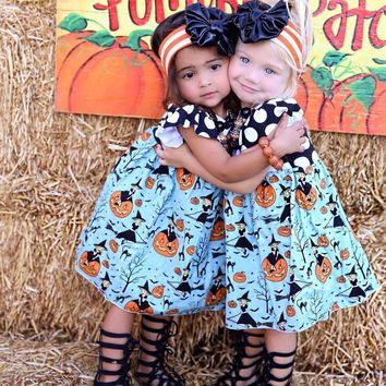 Kids Clothing Toddler Baby Girls Dress Princess Party Dress Halloween Pumpkin Dresses Halloween Witch Sundress Polka Dot Clothes