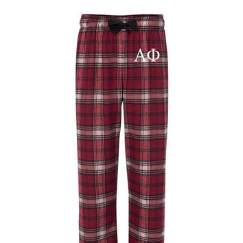Alpha Phi Flannel Pants, Alpha Phi Loungewear, Sorority Letter Flannel Pants, Greek Letter Flannels, Sorority Clothing, Greek Apparel